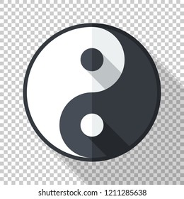Yin and yang symbol or icon in flat style with long shadow on transparent background