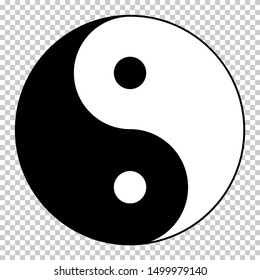 Yin Yang symbol isolated on transparent background. Standard design yin and yang symbol for your banner and poster. Vector graphic.