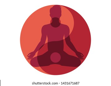 Yin Yang Symbol with Man vector. Yin yang symbol vector illustration. Silhouette of man in yoga position. Yin Yang Man vector. Red Yin Yang symbol. Yoga man icon isolated on a white background