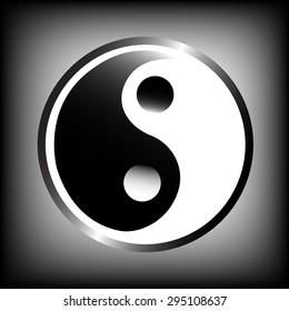 Yin yang symbol on black background. Vector Illustration.
