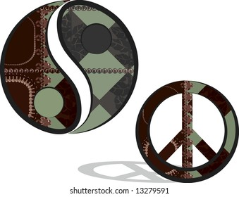 Yin and Yang symbol and Peace symbol in a fun retro style.