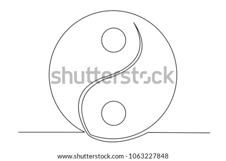 Yin Yang Symbol Sign Continuous Line Stock Vector Royalty Free