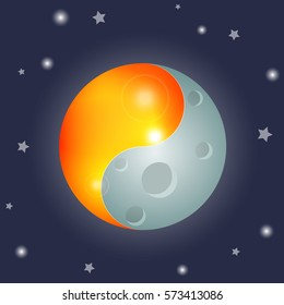 yin and yang symbol with sun and moon, equinox, vector illustration, isolated on background