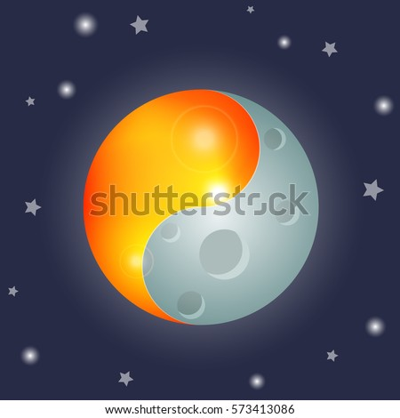 Yin Yang Symbol Sun Moon Equinox Stock Vector Royalty Free