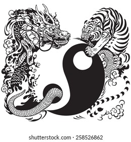 yin yang symbol with tiger and dragon fighting , black and white tattoo illustration