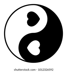 Yin Yang symbol with two hearts, black and white vector illustration.