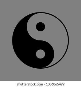 Yin Yang symbol. Vector. Black icon on medium gray background. Isolated.