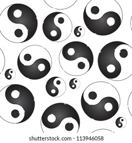 Yin yang symbol. Vector illustration. seamless pattern
