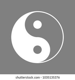 Yin Yang symbol. Vector. White icon on medium gray background. Isolated.