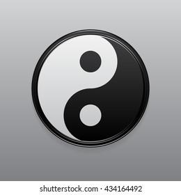 Yin Yang symbol: volume illustration with shadows and glare