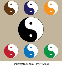 sign chinese philosophy symbol confucianism icons stock vector hd rh shutterstock com Yin Yang Painting Cool Yin Yang Designs