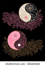 Yin yang symbols as an allegory of opposites and philosophy of life on a black background