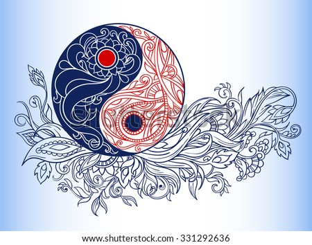 Yin Yang Symbols Allegory Opposites Philosophy Stock Vector Royalty
