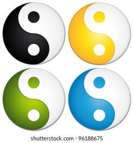 Yin yang symbols set. Colorful vector icons.