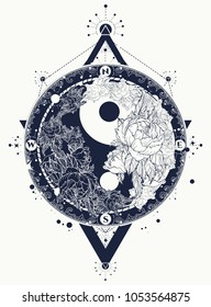 Yin and Yang tattoo art vector.  Black and white roses, boho style, meditation symbol, philosophy, harmony