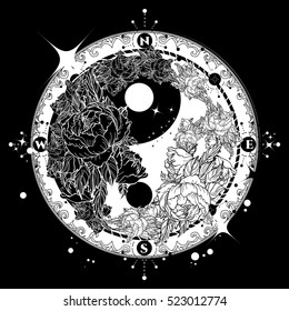 Yin and Yang tattoo art vector. Meditation, philosophy, harmony symbol. Floral Yin Yang meditative art. Black and white roses on dark background