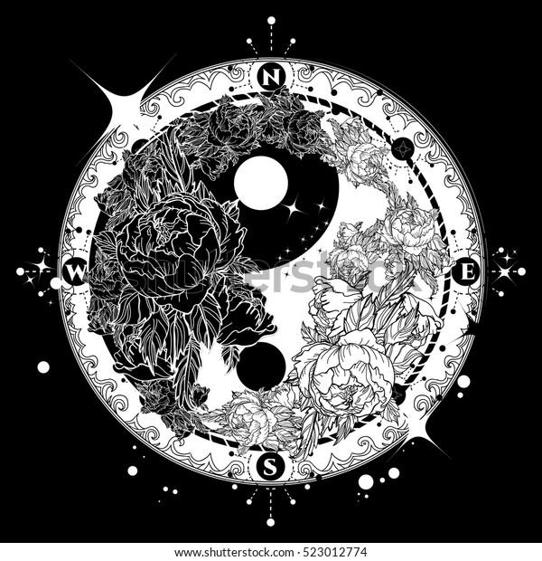 Yin Yang Tattoo Art Vector Meditation Stock Vector Royalty