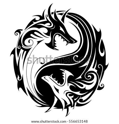 Yin Yang Tattoo Symbol Shaped Two Stock Vector Royalty Free
