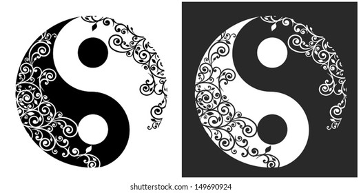 Yin yang two pattern symbol isolated on white, vector illustration