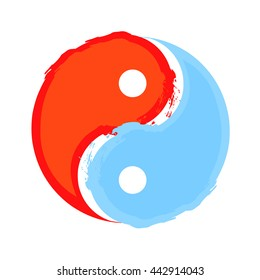 Yin and yang, water and fire concept