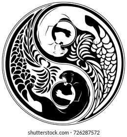 Yin Yang Wild Cat Black and White Tattoo Style