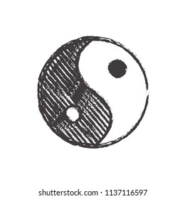 ying yan symbol in black and white colors