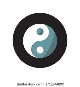 Ying yang icon. Button icon with black background.