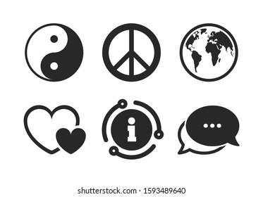 Ying yang sign. Chat, info sign. World globe icon. Hearts love sign. Peace hope. Harmony and balance symbol. Classic style speech bubble icon. Vector