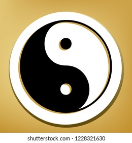 Ying yang symbol of harmony and balance. Vector. Black icon with light brown shadow in white circle with shaped ring at golden background.