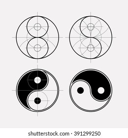 Ying yang symbol of harmony and balance. Sacred geometry. Line geometric ornament on the eastern esoteric symbols.