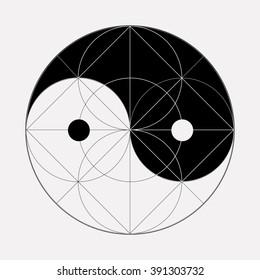 Ying yang symbol of harmony and balance. Sacred geometry. Isolated.