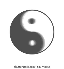 Ying yang symbol of harmony and balance. Vector. Gray icon shaked at white background.