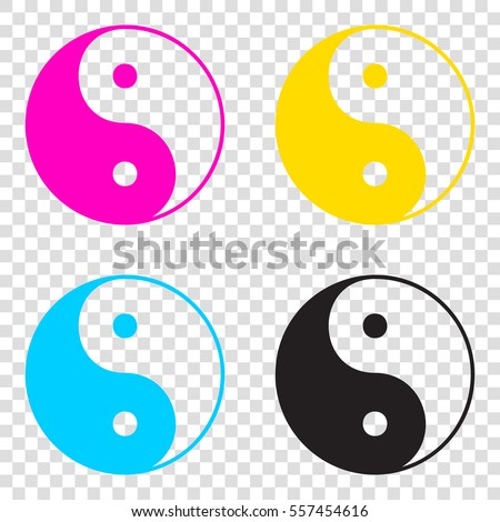4d08f6a09894 Ying yang symbol of harmony and balance. CMYK icons on transparent  background. Cyan