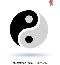 Ying yang symbol  vector silhouette