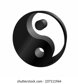 Ying-yang icon 3D on white background