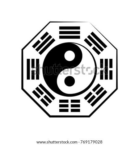 Yin Yang Bagua 8 Trigrams Chinese Cosmic Stock Vector Royalty Free