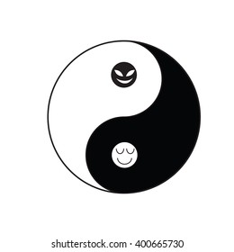 Yin-Yang symbol of Taoism religion in Chinese tradition with good and evil face in each color mean there is good in bad and bad in good in real ife