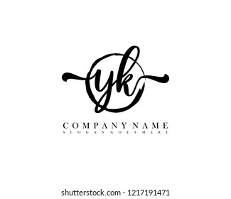 YK initial handwriting logo circle template vector