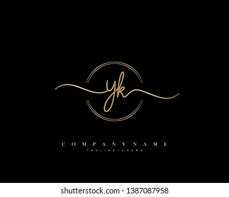 YK initial handwriting logo template vector