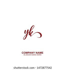 YK Initial handwriting logo vector