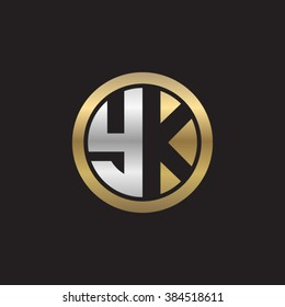 YK initial letters circle elegant logo golden silver black background