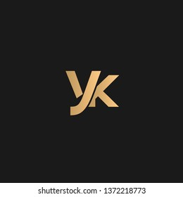 YK or KY logo vector. Initial logo vector golden letters on black background