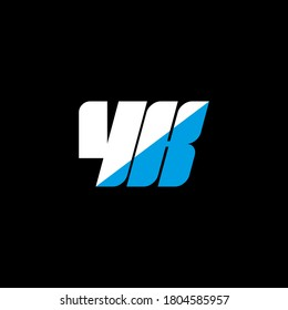 YK letter logo design on black background. YK creative initials letter logo concept. YK icon design. YK white and blue letter icon design on black background. Y K