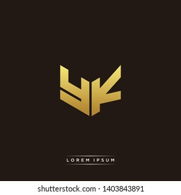 YK Logo Letter Initial Logo Designs Templete with Gold and Black Background