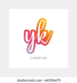 YK logo, vector. Useful as branding, app icon, alphabet combination, clip-art.