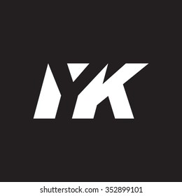 YK negative space letter logo black background