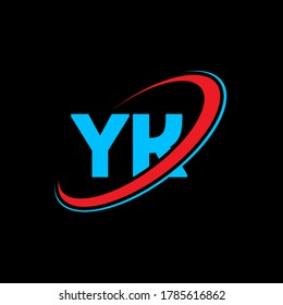 YK Y K letter logo design. Initial letter YK linked circle uppercase monogram logo red and blue. YK logo, Y K design. yk, y k