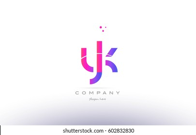 yk y k  pink purple modern creative gradient alphabet company logo design vector icon template