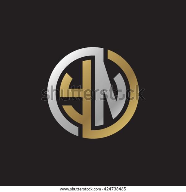 YN initial letters looping linked circle elegant logo golden silver black background