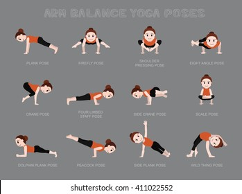 Yoga Arm Balance Poses Vector Illustration